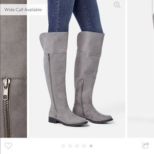 Grey over the knee wide calf riding boots
